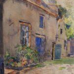 Aquarel van Herman Bogman, voorstellende een Limburgse binnenplaats met een boerenerf met blauw geschilderde deuren en luiken.