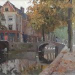 Olieverf van Herman Bogman, voorstellende Stadsgezicht Delft met huis 'De zoete inval'. Hoek Gasthuislaan-Brabantse Turfmarkt-Achterom.