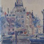Aquarel van Herman Bogman, voorstellende de glashaven van Rotterdam. Gesigneerd en gedateerd.
