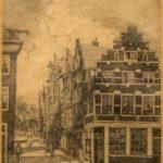 ets stadsgezicht met straatje en trapgevel van Herman Heuff