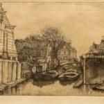 ets dorpsgezicht met scheepswerfje /haventje met bootjes van Herman Heuff