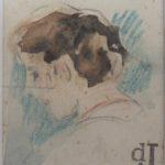 Aquarel portret studie jonge vrouw door Johan Antonie de Jonge.