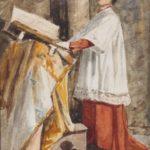 Aquarel van Bernard Schregel, voorstellende een zingende misdienaar of acoliet, met aan de linker kant een lezenaar, waarop een gebedenboek.