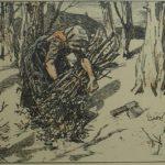 Ingekleurde litho van Edzard Koning, voorstellende een Nunspeetse boerin die hout aan het sprokkelen was.