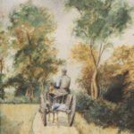 Aquarel van Bernard Schregel, voorstellende een boer op een bioerenwagen op een landweg, van achter gezien. In de verte en aan de zijkant bevinden zich bomen.