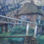 Aquarel van Jack Hamel, voorstellende een kanaal met brug in Giethoorn met op de achtergrond een grote boerderij waar naar verluid drie vrijgezelle broers woonden.