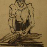Tekening van Arnold Hendrik Koning, voorstellende een vrouw die bezig is met verstelwerk aan kleding.