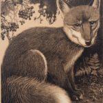 Litho van Henri Verstijnen, voorstellende een vos, ontwerp voor kalender uit 1935.