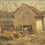 Olieverf maroefle van Bernard Schregel (mogelijk door Bernardine Schregel) , voorstellende een boerenschuurtje met aan de voorzijde een aangebouwde houten omheining. Studie voor het schilderij dat in 2005 bij Sotheby's is geveild.