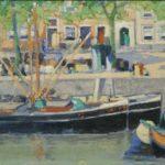 Olieverf van Herman Heuff, voorstellende boten in de Prinsengracht te Amsterdam.