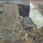 Olieverf van Bernard Schregel, voorstellende een boerenerf met op de voorgrond een mestvaalt met kippen en stutkar. Op de achtergrond een boerenschuur met opengeslagen poort.
