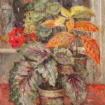 Olieverf van Ina Hooft, voorstellende een rood groene plant in een bloempot, staande op een oranje ondergrond voor een open raam.