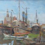 Olieverf van Edzard Koning, voorstellende de haven van Maassluis,met boten op de achtergrond de Grote Kerk.