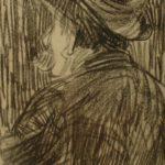 Krijt tekening van Arnold Hendrik Koning van een man met snor en hoed, met achteraanzicht.