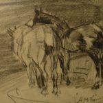 krijt tekening van Arnold Hendrik Koning van twee paarden in een stal, gezien van zijaanzicht
