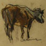 krijt tekening in rood en zwart van Arnold Hendrik Koning, voorstellende een rund.
