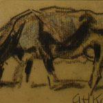 krijt tekening in zwart van Arnold Hendrik Koning, voorstellende een grazend rund