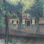 Olieverf van Jack Hamel, voorstellende een Amsterdamse gracht met bomenen spelende kinderen. Gesigneerd en gedateerd 1936.