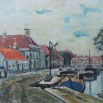 Olieverf van Edzard Koning, voorstellende de Vissersdijk te Winschoten met aan de linkerzijde een rij huizen en aan de rechterkant een aantal binnenvaartschepen.