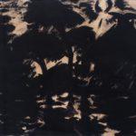 Inkt tekening van Marten Klompien, voorstellende een boerderij met ondergaande zon in bosrijke omgeving.