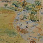Aquarel van Bob Buys, voorstellende een Franse tuinmet paden en bloemen, gesigneerd en gedateerd 1946.
