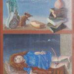 Olieverf van Frans de Haas, voorstellende eenbruin kastje met twee schappen, met in de bovenste een muis met kaas en een stapel boeken. In het onderste schap een liggende pop met rode haren en een blauw jurkje.