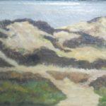Olieverf van Herman Heuff, voorstellende de duinen bij Burg Haamstede