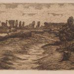 Ets van Maurits van der Valk, voorstellende een polderlandschap.