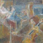 Olieverf van Joop Sjollema, voorstellende een muziektrio met cellist, violist en pianist. Aangekocht van de kunstenaar.