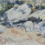 Aquarel van Bob Buys, voorstellende een landschap met rotsen en struiken, gesigneerd en gedateerd 1959.