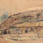 Pastel tekening van Arnold Hendrik Koning, voorstellende een boerderij in Ede.