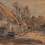 pastel van Arnold Hendrik Koning, voorstellende een boerengehucht met huisjes.