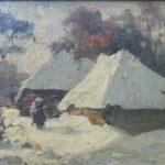 Olieverf van Edzard Koning, voorstellende een boerin in de sneeuw voor een boerderij. Op de achtergrond een aantal bomen.