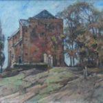Olieverf van Edzard Koning, voorstellende het kasteel Nijenbeek op een hoger deel gelegen, aan de rechterzijde een klein schuurtje en een rij bomen.