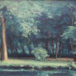 Olieverf van Daniel den Hengst, voorstellende een park met bomen en een gracht.