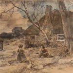 Ingekleurde litho van Edzard Koning, voorstellende spelende kinderen met een konijntje voor een boerderij,omringd door bomen en tuin.