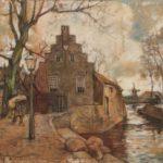 Aquarel van Edzard Koning, voorstellende het poorthuis aan het Damsterdiep te Groningen. Aan de linkerzijde een lantaarn en boom en een man die balen weg draagt. Op de voorgrond liggen balen met goederen. Op de achtergrond is een molen zichtbaar. Van deze voorstelling is ook een olieverf gemaakt.