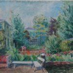 Olieverf van Bob Buys, voorstellende een vrolijke gekleurde tuin met planten en bomen en een tafel met bankje.