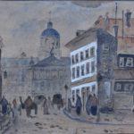 Aquarel van Arnold Hendrik Koning, voorstellende Vijgendam te Amsterdam, met zicht op het paleis op de Dam. Op straat lopen mensen en op straat hangt een aangeplakt affiche voor een optreden in Carre.