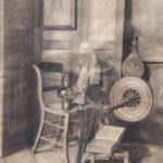 Potlood tekening van Jan Bogaerts, voorstellende een stilleven en interieur met onder meer een stoel, spinnewiel en een olielamp.