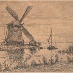 Ets polderlandschap aan een vaart met molen van Maurits van der Valk
