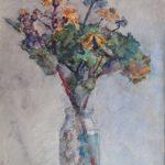 Aquarel stilleven vaas met bloemen door Herman Bogman