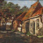 Olieverf van Bernard Schregel, voorstellende een straatje met huizen aan de rechterkant. Op de achtergond bomen. Van dit straatje is ook een aquarel gemaakt.