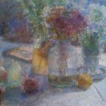 """Aquarel Interieur met bloemstilleven, met titel """"Tegenlicht"""". Uit de ABN AMRO kunstcollectie, inv.nr. KS17400"""