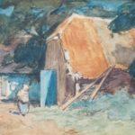 Aquarel van Bernard Schregel, voorstellende een boerenerf met een vrouw en een mestvaalt. Op de achtergrond een schuur met opengeslagen poort.