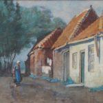 Aquarel van Bernard Schregel, voorstellende een straatjemet huizen aan de rechterkant. Voor de huizen loopt een vrouw die emmersdraagt. Op de achtergrond een rij bomen. Van dit werk is ook een olieverf gemaakt.