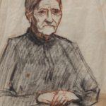 Tekening van Henk van Leeuwen, voorstellende grootmoeder zittend.