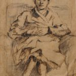 Tekening van Henk van Leeuwen, voorstellende een zittende vrouw in een fauteuil.