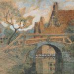 Ingekleurde ets van Bernard Schregel, voorstellende een dorpsgezicht met een gracht en een bruggetje en enkele huizen. Aan de linkerkant van de oever staat een boom.