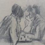 Joop Sjollema, tekening schaakspelers. gesigneerd.
